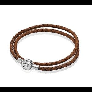 Pandora Brown Woven Double Leather Charm Bracelet
